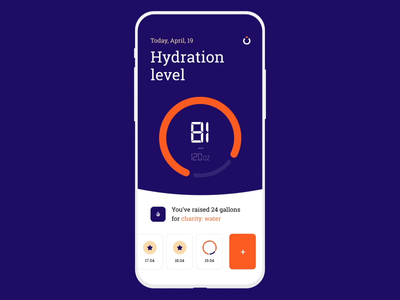 Water-electrolyte Imbalance App mobile electrolyte imbalance time bottle cup level hydration water interface motion ios design graphics app ux ui cuberto