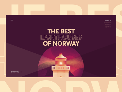 Norway Lighthouse Tour norway interface tour lighthouse typography vector website design illustration graphics ux ui cuberto