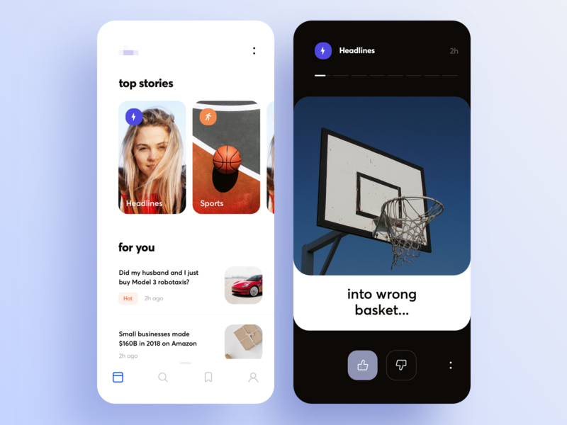News feed UI concept mobile top story tabbar toolbar swipe card category search feed news sketch ios design graphics app ux ui cuberto
