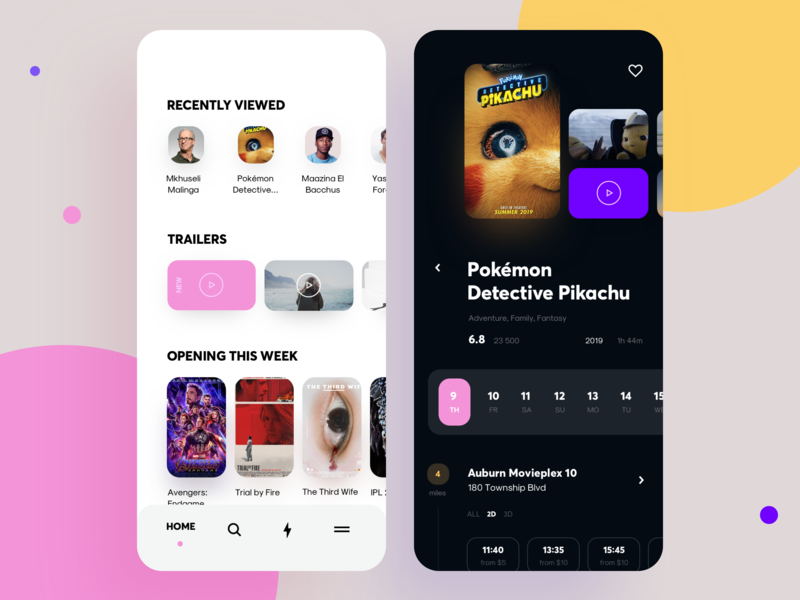 Service app for watching TV episodes and movies mobile trailer film watch category top episode tv show movie interface design graphics app icons ux ui cuberto