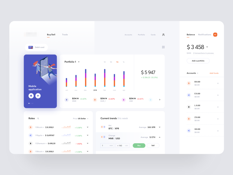 Cryptocurrency Exchange Dashboard #5 funds profile charts graphics bitcoin wallet cryptocurrency exchange dashboard vector design icons ux ui cuberto