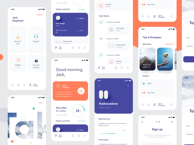 Combo clinical trial app (UI map) visual design usability interface trial medicine clinical screenshots ui map product design ios mobile graphics app icons ux ui cuberto