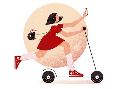 Scooter Girl Illustration branding print web design girl scooter design illustration graphics app icons ux ui cuberto