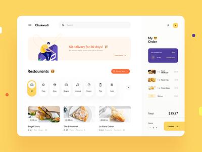 Food Delivery Dashboard web menu platform dish buy cart ecommerce delivery graphics dashboard food web design product design design illustration ux ui cuberto
