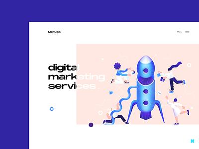 Digital Marketing Services Landing Page digital art product design web design landing page agency rocket services marketing digital design illustration graphics ux ui cuberto