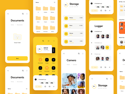 File Explorer (UI map) interface yellow mockups layout ui map explore archive finder search file application app product design mobile ios design ux ui cuberto