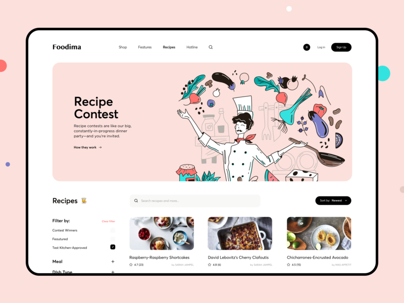 Vacation House Cooking Landing Page website product design categories food recipes cook cooking landing page web interface design illustration graphics icons ux ui cuberto
