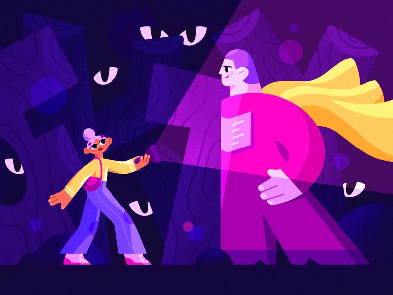 Trustworthy Person Illustration procreate ipad pro cloak torch eyes walking forest person design illustration graphics app icons ux ui cuberto