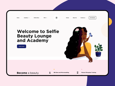 Beauty Lounge Landing Page hair make up academy selfie landing page style salon lounge beauty web interface design illustration graphics icons ux ui cuberto
