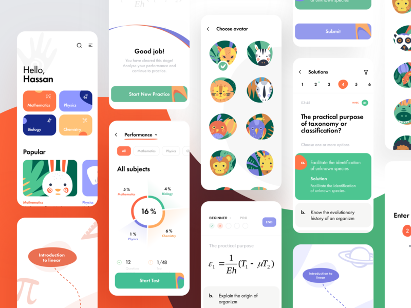 Geant eEducation UI map task skills knowledge mobile learning maths interface lesson education ios design illustration graphics app icons ux ui cuberto