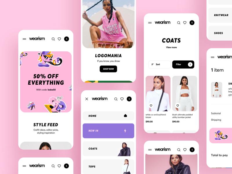 Shop Women's Clothing App Design women store mobile festival fashion ecommerce dresses clothing brand boutique banner ios design illustration graphics app icons ux ui cuberto