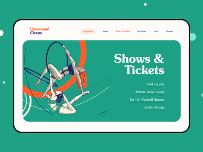 World Touring Circuses Landing Page star event ticket show landing page circus tour web design illustration graphics icons ux ui cuberto