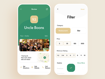 Restaurant Review UI case receipt recipe cost green mobile food rating feedback review restaurant interface ios graphics app icons ux ui cuberto