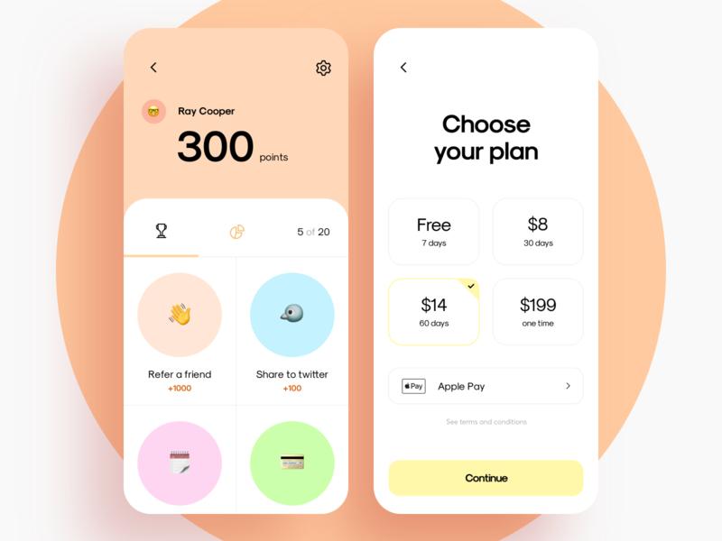 Achievement UI case categories rate settings mobile plan subscription achievement interface graphics app icons ux ui cuberto