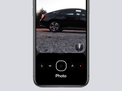 Camera Mode Interaction portrait settings record start front camera aftereffects animation mobile interaction design ios graphics app ux ui cuberto