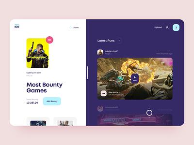Speedrunning Web Platform for Gamers gamer run popular resource stream casual video game speed web interface design icons ux ui cuberto