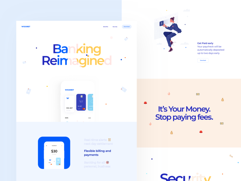 Landing Page for Wickret Banking App interface security fee payment landing page money finance banking web design illustration graphics icons ux ui cuberto