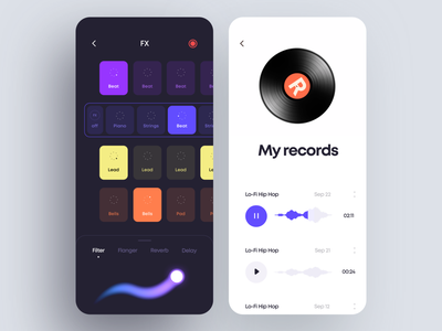 Beat Maker App Design library melody song instrument play record sound maker beat interface ios illustration graphics app icons ux ui cuberto