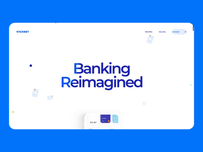 Wickret Landing Page Interaction payment finance banking interaction landing page site of the day award development motion interface illustration graphics icons ux ui cuberto