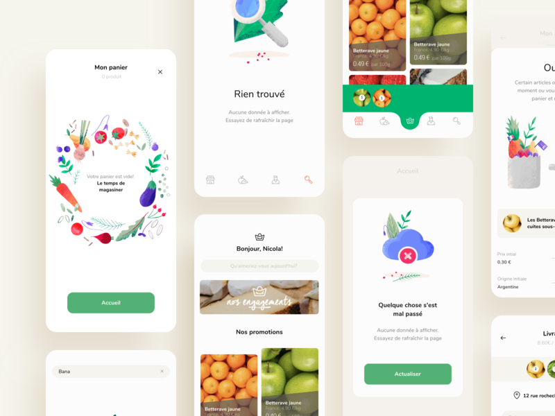 Groceries Shopping App Design store online fruits fresh ecommerce cart meat vegetable food products shop market ios illustration graphics app icons ux ui cuberto