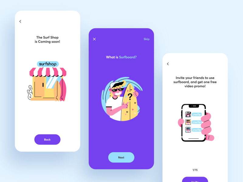 Surfboard App Onboarding startup discover purple stylish step onbording surf event mobile illustration app graphics icons ux ui cuberto