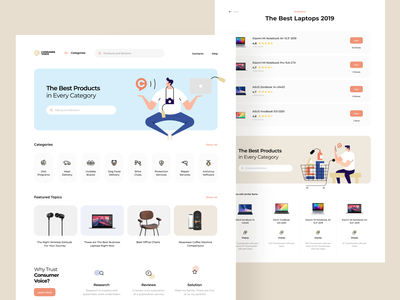 ConsumerVoice Landing Page consumer voice search feedback ecommerce shop catalog goods digital product landing page web interface design illustration graphics icons ux ui cuberto
