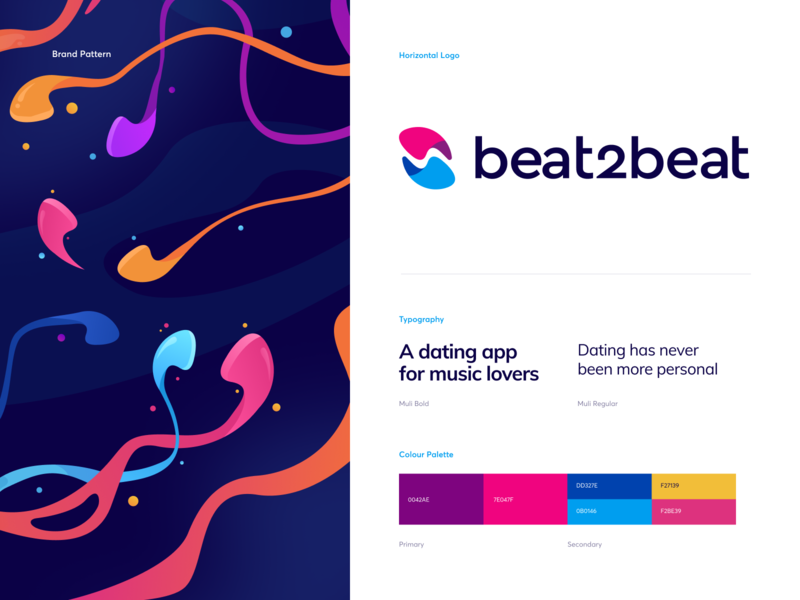 beat2beat Branding - a Dating App for Music Lovers typography font symbol brandbook logo playlist song chat match dating headphones music branding illustration app graphics icons ux ui cuberto