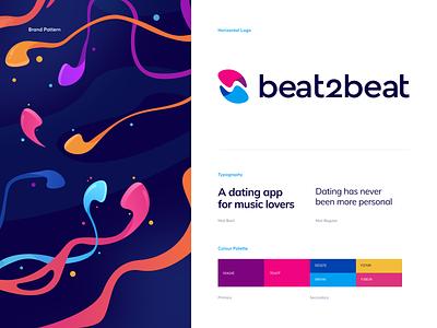 beat2beat Branding - a Dating App for Music Lovers typography font symbol brandbook logo playlist song chat match dating headphones music branding illustration app graphics icons ux ui cuberto