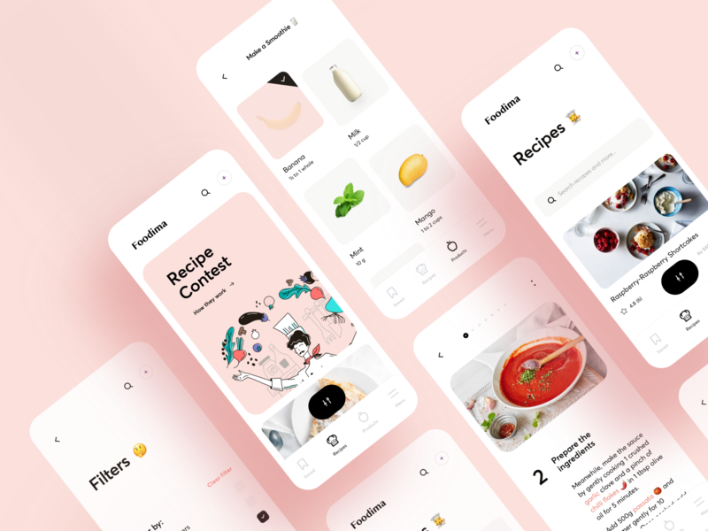 Vacation House UX/UI map cuisine cook vacation dish book food recipe cooking figma interface ios illustration app graphics icons ux ui cuberto