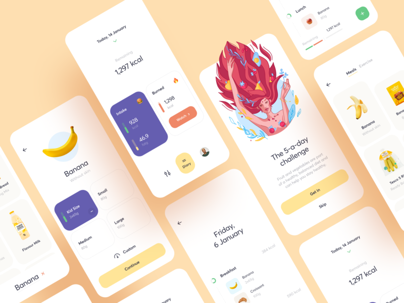 Nutracheck App Refresh weight mobile diet diary food fitness calorie illustration app graphics icons ux ui cuberto