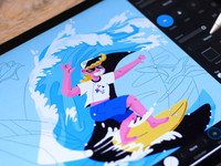 Drawing a surfer illustration in Affinity Designer using iPad Pr