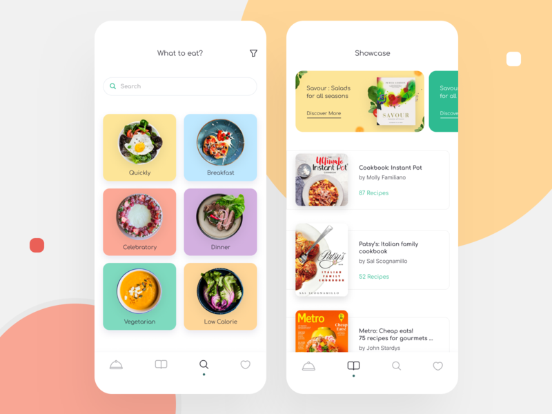 Rezepte & Kochen App Design kitchen meat vegetable diet dish book chef recipe eat cooking mobile ios illustration app graphics ux ui cuberto