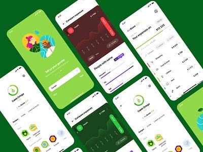 'Track Your Spending' App Design expenses track spending money green form budget ios design app illustration graphics icons ux ui cuberto