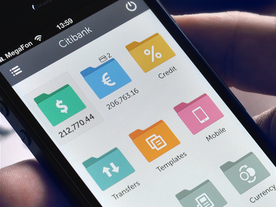 Concept idea of banking app cuberto ui iphone menu interface ux xcode account bank development