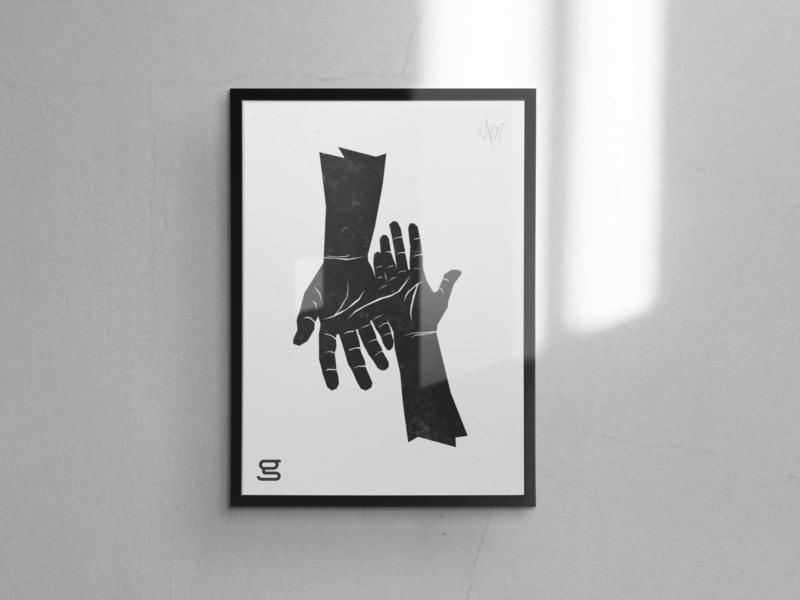 United hands lino print print design poster blackandwhite handmade hand linoprint linoleum linocut minimal vector illustration