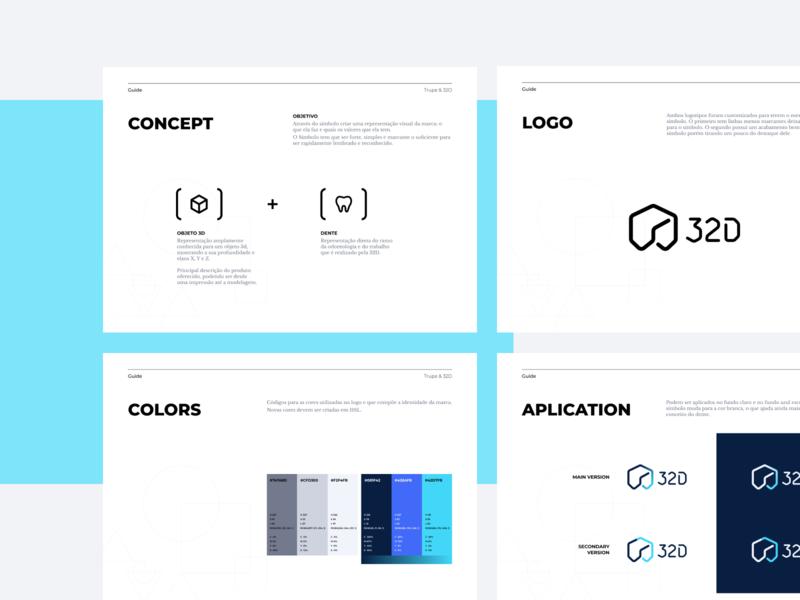 32D styleguide graphic brand identity minimal icon flat logo bold design branding
