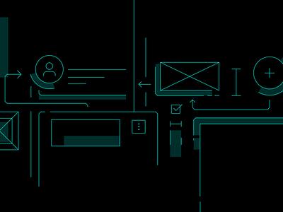 Components Illustration components flow line ux flat ui minimal icon vector illustration