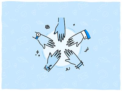 SmartrMail Community community hands vector minimal illustration design doodle graphic design