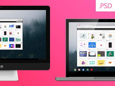 Free Mockups - HP Envy / Chromebook Pixel ui chromebook hp mockup debut freebie