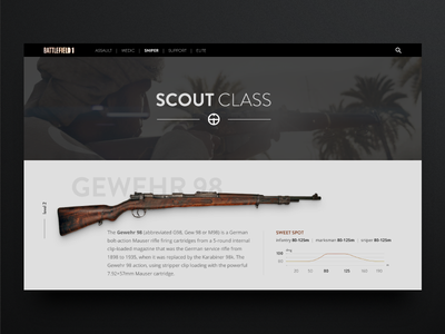 Bf1 weapon page concept (WIP) web ux design scout weapon battlefield ui concept