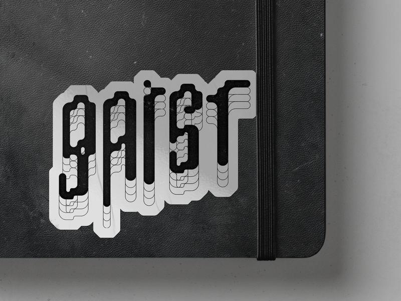 Gaist Sticker distorted type logo moleskine sticker art minimal illustration branding typography vector design