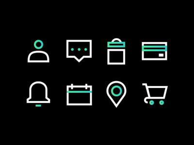 Icons Study bold sharp iconography web design flat vector grid icon minimal