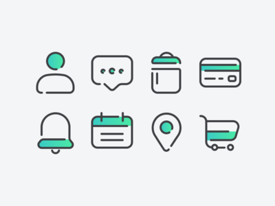Icons Study 2 round web vector sharp minimal iconography icon grid flat design bold