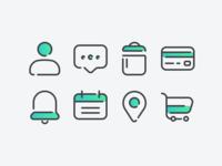 Icons Study 2 round web vector sharp minimal iconography icon grid flat design bold
