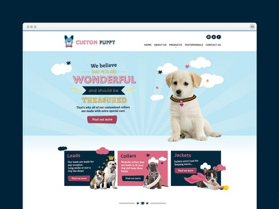 Custom Puppy Home Page pet ecommerce design dogs pets illustration web design art direction