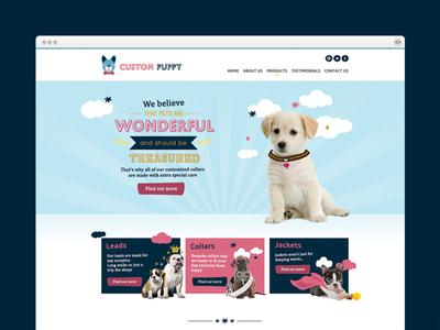 Custom Puppy Home Page pet ecommerce design dogs pets illustration web design art direction