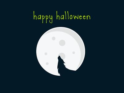 Hallway Halloween halloween fun scary design wolf moon black night illustration