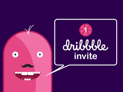 Dribbble Invite invite character pink invitation design illustration dribbble invite