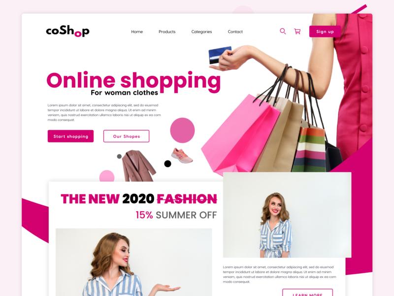 woman online shopping clothing pink woman store store design design web ui ux uiux landing page design ui design adobe xd