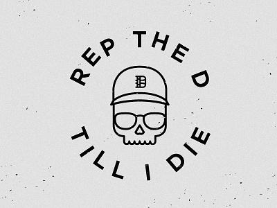 Till I Die detroit vector type skull hat illustration glasses